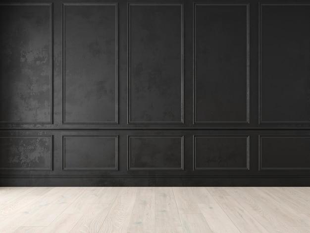 Modern klassiek zwart leeg interieur met wandpanelen en houten vloer d render illustratie mock up