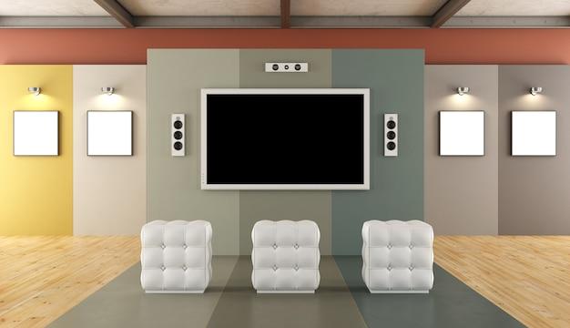 Modern kleurrijk museum met een multimediaruimte