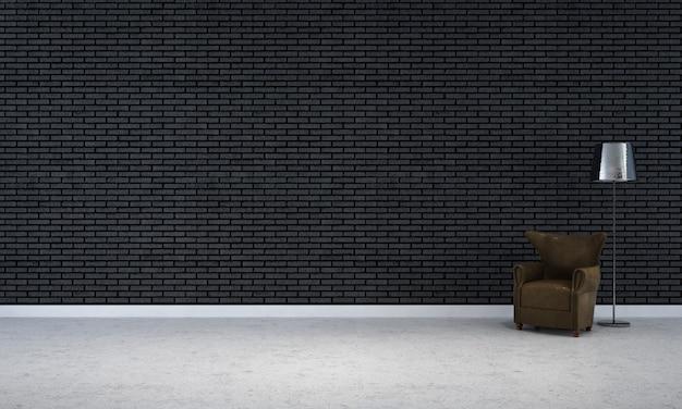 Modern leeg frame mock-up interieur en woonkamer ontwerp en zwarte bakstenen muur achtergrond decor en bank met vloerlamp 3d-rendering