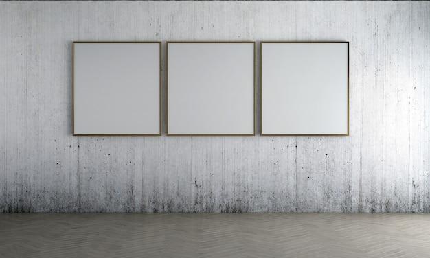 Modern leeg frame mock-up interieur en woonkamer ontwerp van oude betonnen muur achtergrond decor en bank met gouden bijzettafel 3d-rendering