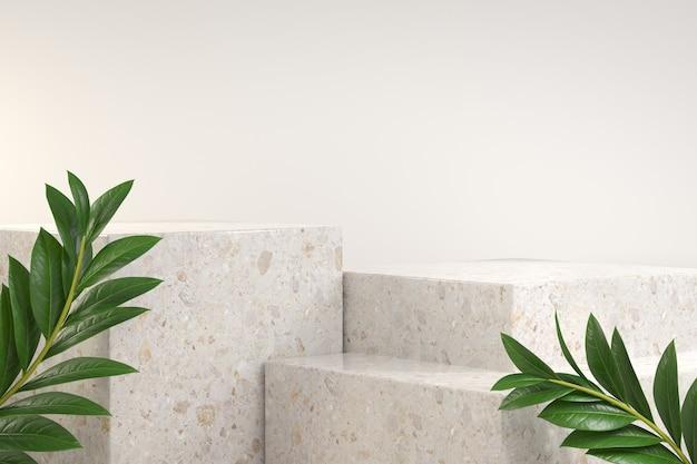 Modern leeg podium dat met tropische installatie wordt geplaatst. 3d-weergave