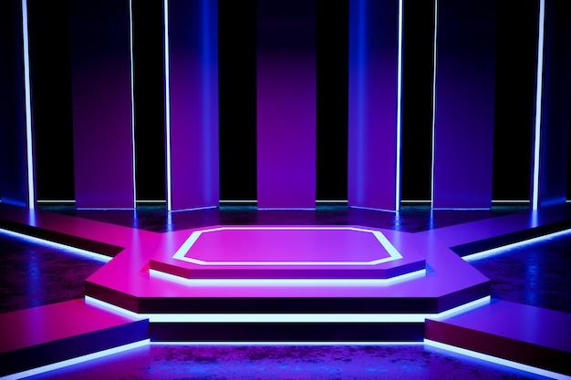 Modern leeg podium met neonlicht