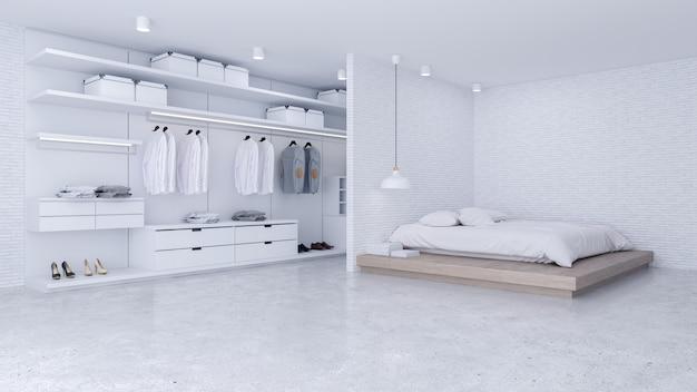 Modern loft van slaapkamer en kleedkamerbinnenland