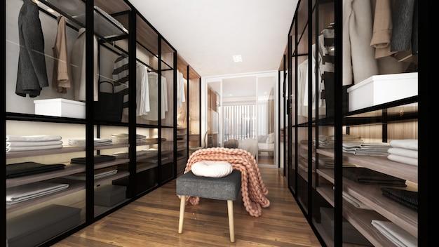 Modern luxe interieur van inloopkast en garderobekast en vitrines