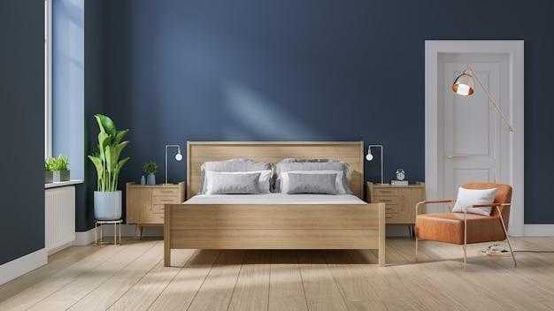 Modern midden van de eeuw en minimalistisch interieur van de slaapkamer
