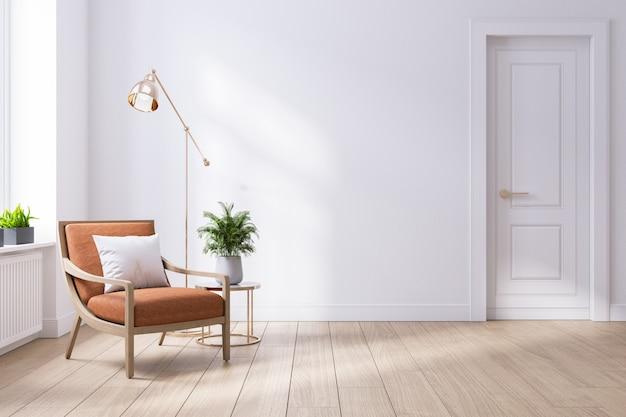Modern midden van de eeuw en minimalistisch interieur van de woonkamer