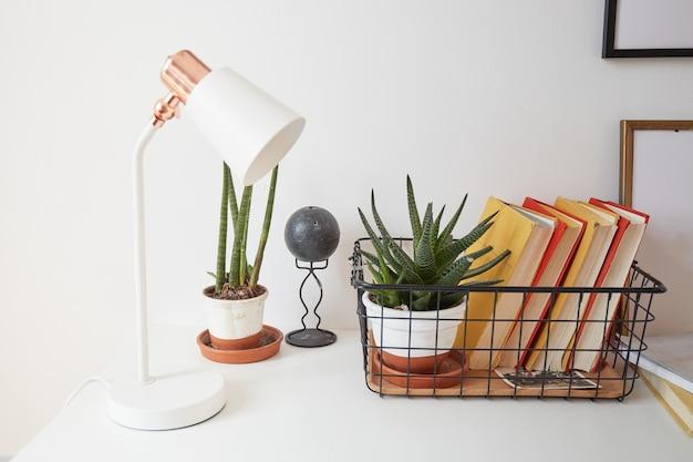 Modern minimaal bureau met boeken en vetplanten