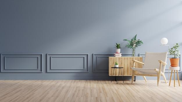 Modern minimalistisch interieur met een fauteuil op een leeg blauw muuroppervlak