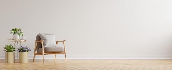 Modern minimalistisch interieur met een fauteuil op lege witte muur. 3d-weergave