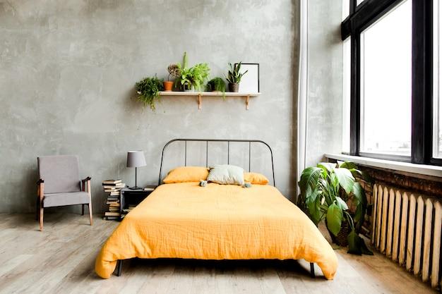 Modern minimalistisch interieur slaapkamerontwerp in