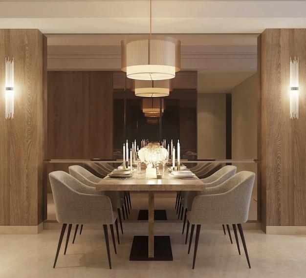 Modern minimalistisch ontwerp van eetkamer met decoratie