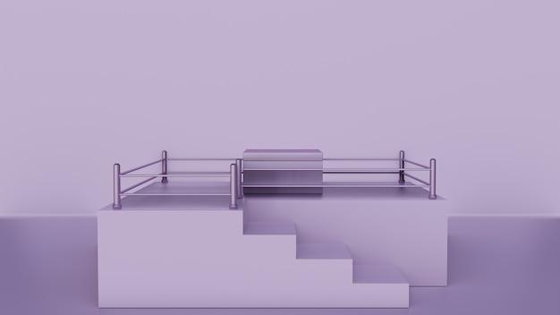 Modern minimalistisch podium met kubus of doos in het midden