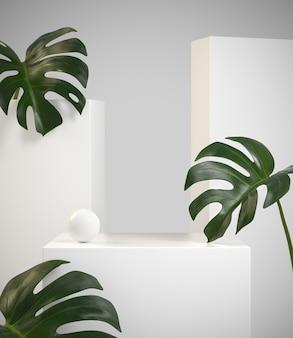 Modern minimalistisch schoonheidswit display met monstera-tropische plant. 3d-weergave