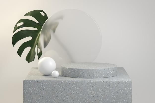 Modern mockup luxe podium natuurlijk met monstera plant