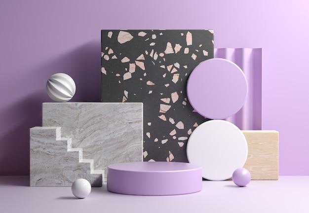 Modern mockup paars display met abstracte geometriesamenstelling