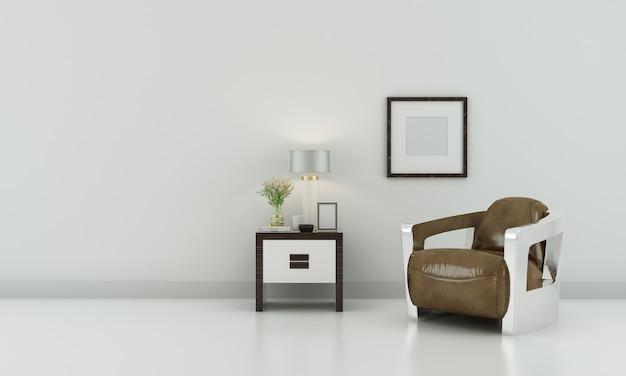 Modern neutraal woonkamerbinnenland met witte muur