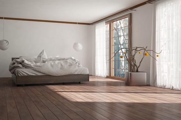 Modern slaapkamer interieur.