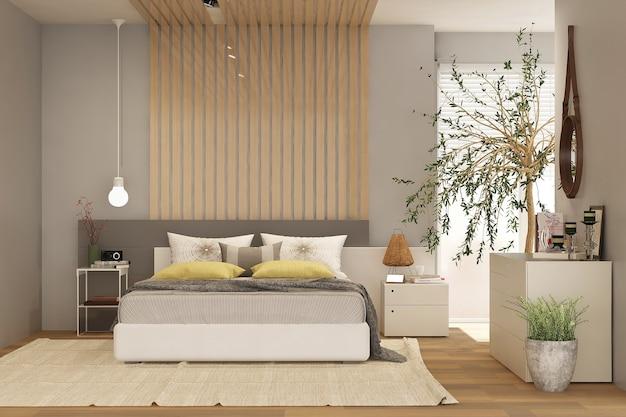 Modern slaapkamerinterieur met houten decor in ecostijl