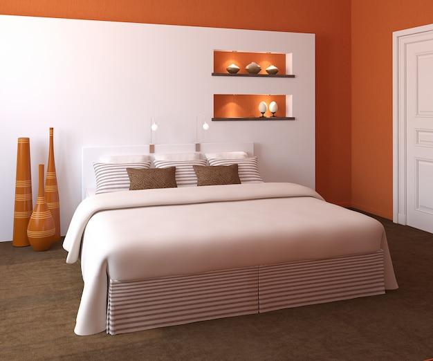 Modern slaapkamerinterieur