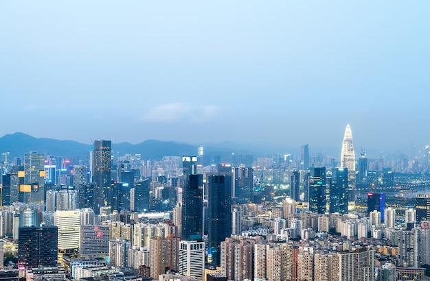 Modern stedelijk architectuurlandschap in shenzhen, china