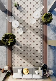 Modern terrasontwerp in een hotel. bovenaanzicht. 3d renderen
