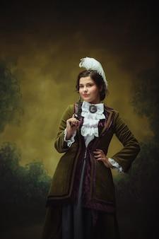 Modern trendy look portret van mooie vrouw uit de renaissanceperiode