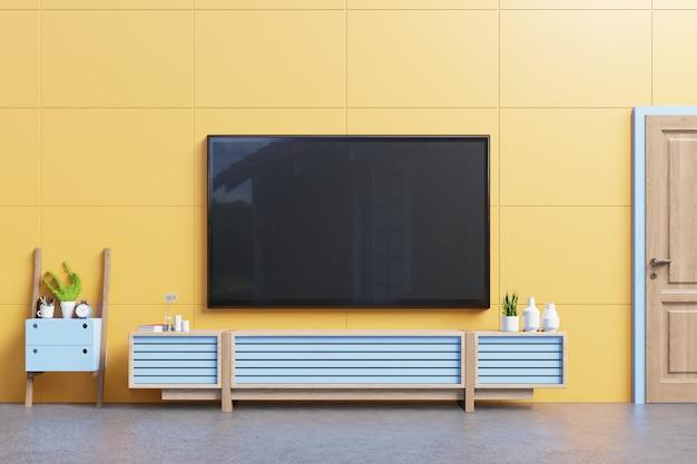 Modern tv-standaardontwerp met gele muur in de kamerdecoratie.