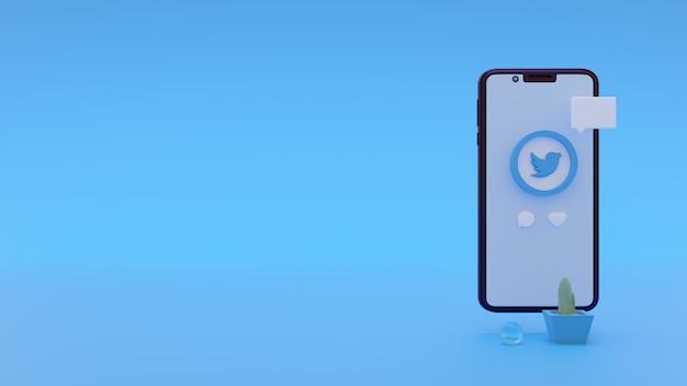 Modern twitter-logo voor advertenties op sociale media met 3d-renderingsjabloon voor smartphones