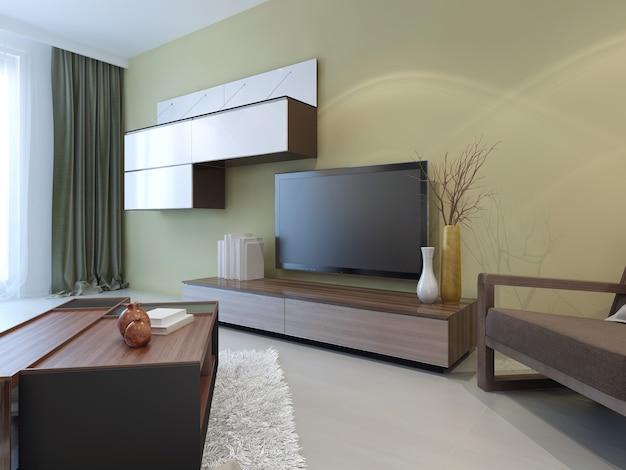 Modern wandsysteem in het interieur van de woonkamer