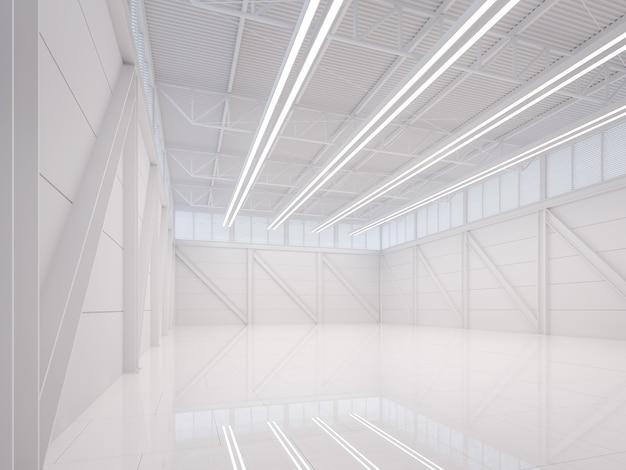 Modern wit magazijn interieur 3d-rendering afbeelding, er lege ruimte met witte tegelvloer en witte stalen structuur