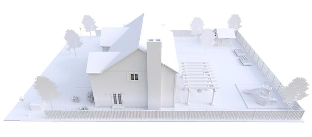 Modern wit mooi huis. 3d illustratie