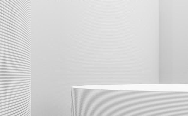 Modern witruimte-interieur met lijncurve 3d render versier de muur met horizonlijnpatroon