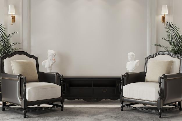 Modern woonbinnenland met klassieke fauteuil