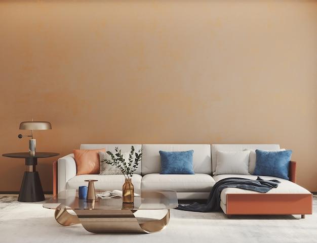 Modern wooninterieur met sofa voorkant van lege muur 3d render