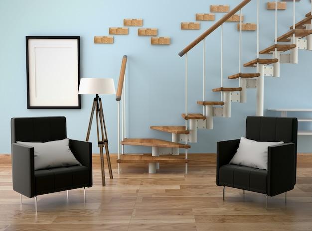 Modern woonkamer interieur. 3d-rendering