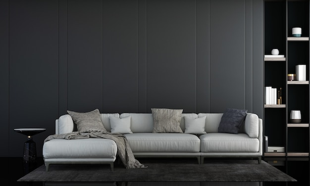 Modern woonkamer interieur en witte bank en planten decoratie en lege muur achtergrond 3d-rendering