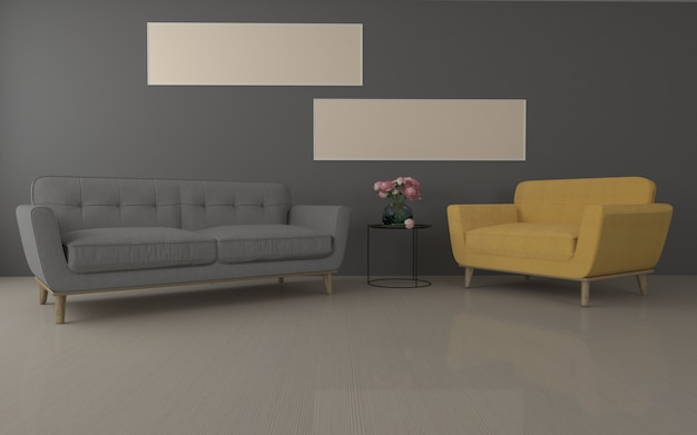 Modern woonkamer realistisch mockup van 3d teruggegeven van binnenlandse bank - bank en lijst