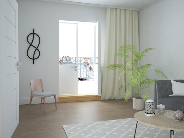Modern woonkamerappartement in scandinavische stijl