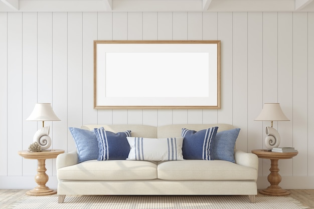 Modern woonkamerbinnenland in kuststijl. mockup voor interieur en frame. 3d render.
