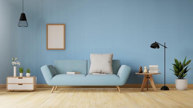 Modern woonkamerbinnenland met bank en groene installaties, lamp, lijst. 3d-weergave
