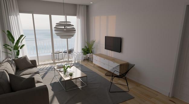 Modern woonkamerbinnenland met bank en groene installaties