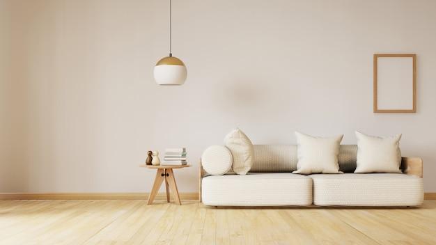 Modern woonkamerbinnenland met bank en lijst. 3d-weergave
