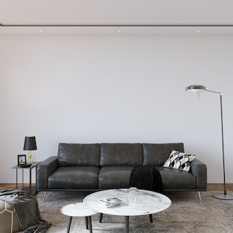 Modern woonkamerbinnenland met grijze bank