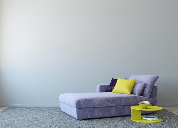 Modern woonkamerbinnenland met laag dichtbij lege grijze muur. 3d render. foto op boekomslag is door mij gemaakt.