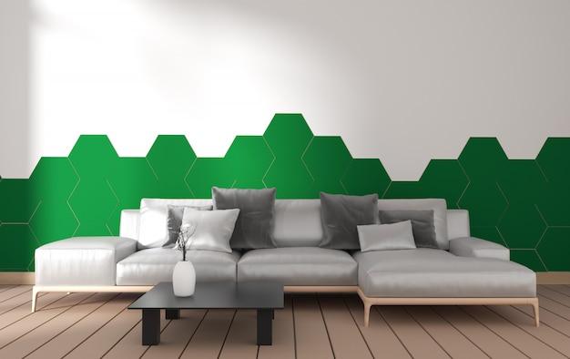 Modern woonkamerbinnenland met leunstoeldecoratie en groene installaties op hexagon groene tegel op witte muur, minimaal ontwerp, het 3d teruggeven