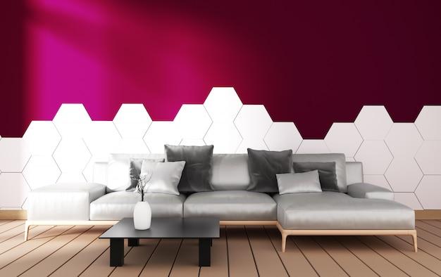 Modern woonkamerbinnenland met leunstoeldecoratie en groene installaties op hexagon tegel op purpere muur, minimaal ontwerp, het 3d teruggeven