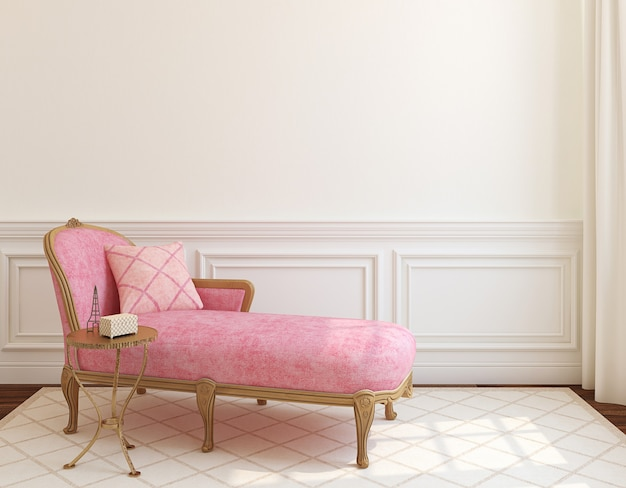 Modern woonkamerbinnenland met roze laag dichtbij lege witte muur. 3d render.