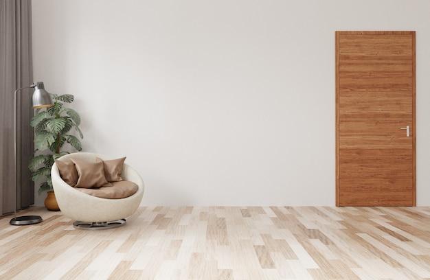 Modern woonkamerinterieur van licht hout, een comfortabele stoel en een plant