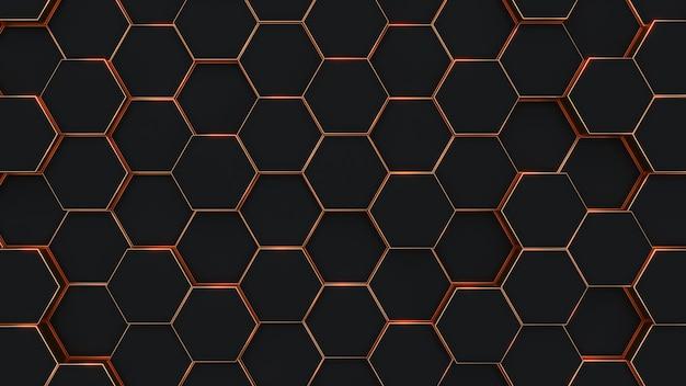 Modern zeshoekig zwart en goud achtergrond structuurpatroon