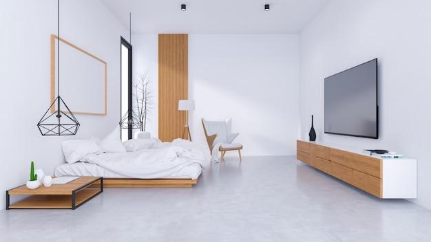 Modern zolderbinnenland van slaapkamerontwerp en comfortabele stijl